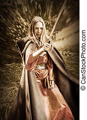 woman warrior with sword - Beautiful blond sexy woman...