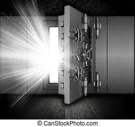 Grunge bank vault - Illustration of a bank vault in a grunge...