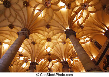 Nice roof with shapes illuminated between columns