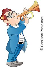 Vector of a man blowing trumpet. - Vector illustration of a...