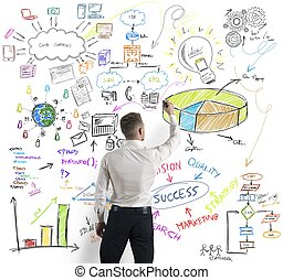 Modern business concept - Businessman drawing modern...