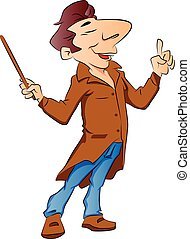 Vector of lecturer with stick. - Vector illustration of a...