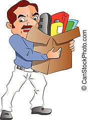 Vector of man carrying carton full of office supplies. -...