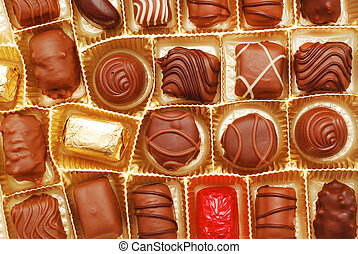 chocolate candy assortment closeup detail