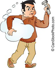 Vector of man holding thought cloud and flashlight.