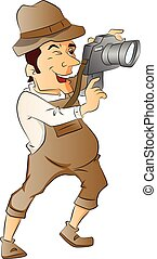 Vector of photographer with digital camera.