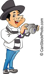 Vector of man with digital camera.
