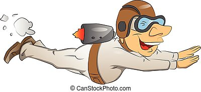 Vector of man flying with jetpack.