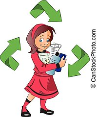 Vector of a girl holding plastic bottles for recycle. -...