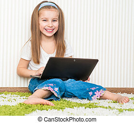 little girl with a laptop - cute little girl with a laptop...