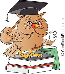 Smart Owl Graduate, illustration - Smart Owl Graduate with...