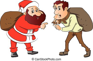 Vector of santa and burglar with sacks on their back. -...
