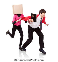 Flee the evil desire - Young woman with a box on her head...