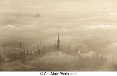 Sand storm in Dubai - Dramatic sand storm in Dubai, UAE,...