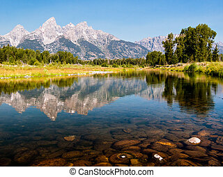 Snake River Reflection - The Teton Mountain Range is...