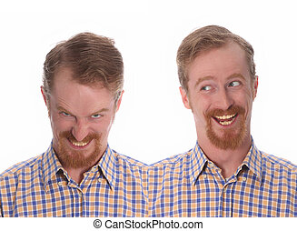 two brother twin - studio shot portrait background of two...