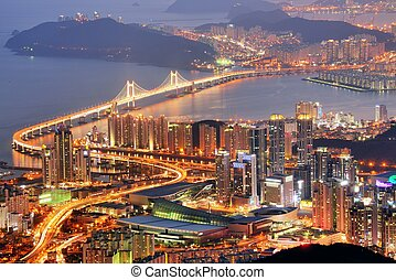 Busan, South Korea - Skyline of Busan, South Korea at night