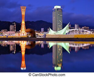 Kobe Japan - Kobe, Japan skyline with puddle reflections