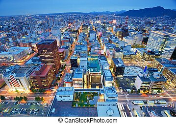 Sapporo Skyline - Skyline of downtown Sapporo, Japan