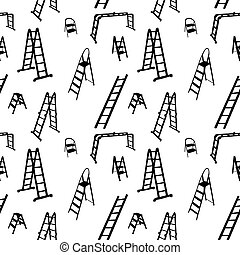 Seamless pattern of ladder silhouette. vector illustration.