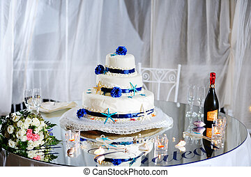 wedding cake, bouquet, stemware and champagne - beatiful...