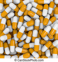 White and orange capsules - Closeup view of white and orange...