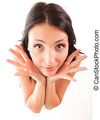 excited young woman pointing both hands towards - Portrait...
