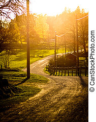 Bauernhof, Sonnenuntergang