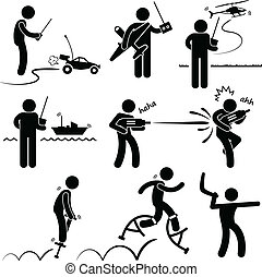 People Playing Remote Outdoor Toys - A set of stick figure...