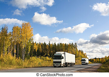 autumn, highway - truck delivery, autumn, highway...