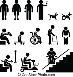 Amputee Handicap Disable People Man - A set of stick figure...