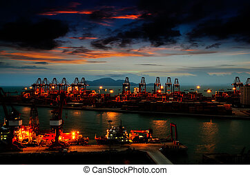 Harbor at night - Port warehouse with cargoes and containers...