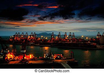 puerto, noche