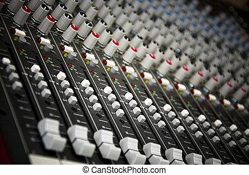 sonido, control, panel,