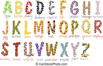 vector school alphabet - school alphabetical letters with...
