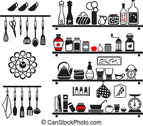 Vector black food and drinks icons set, drawn up as kitchen...