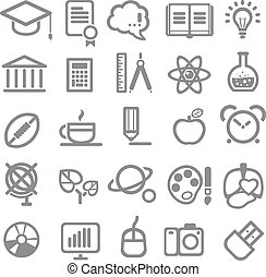 25 school and college icons. Vector education icons set