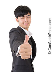 ok gesture - Asian businessman give you a sign of OK,...
