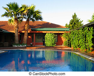 red hotel - tropical house with swimming pool, little hotel