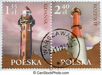 Lighthouses on two post stamps from Poland - Two...