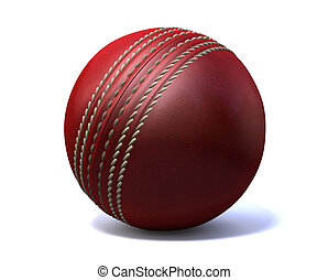 Cricket Ball - An red leather cricket ball isolated on a...