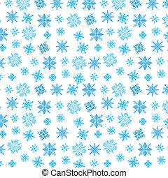 Blue snowflakes on white