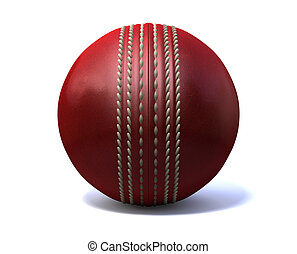Cricket Ball Front - An red leather cricket ball isolated on...