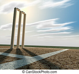 Cricket Pitch And Wickets Perspective - A set of cricket...
