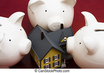 Home Finances - Home with piggy bank � banks surrounding...