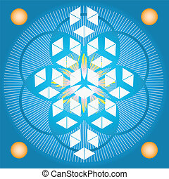 Sacred geometry-Blue Flower of life - Sacred geometry-Flower...