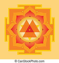 Orange Yantra - Yantra-vector illustration-for meditation,...