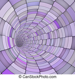 3d render tile tunnel pipes in multiple purple