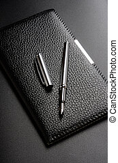 Card holder, fountain pen - Business still life: card...