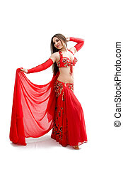Belly dancer in red - Beautiful belly dancer in red outfit...